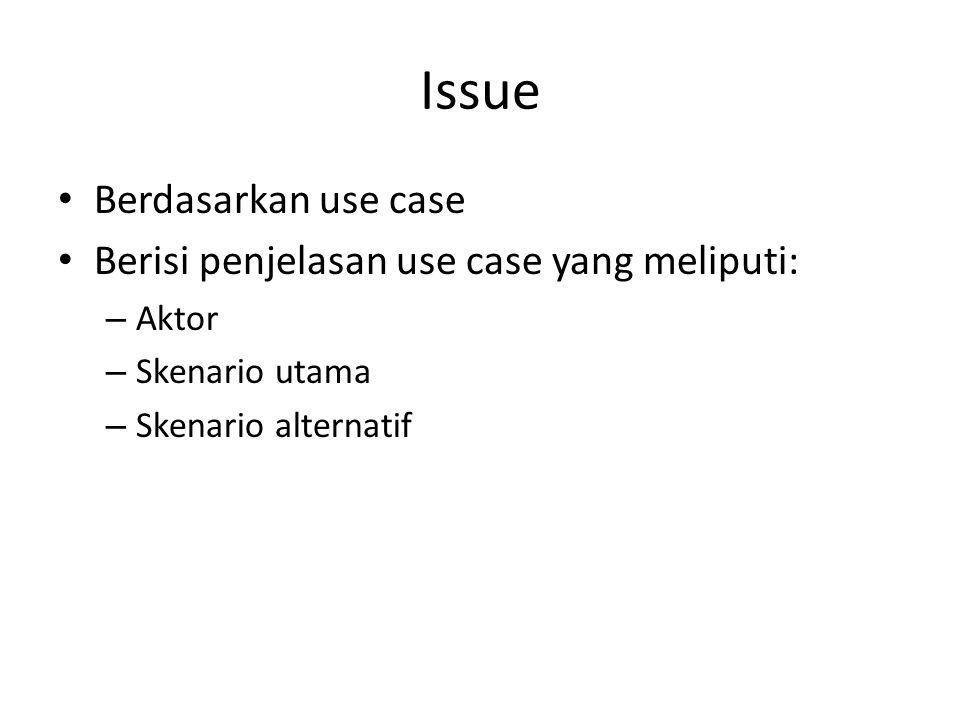Issue Berdasarkan use case Berisi penjelasan use case yang meliputi: – Aktor – Skenario utama – Skenario alternatif