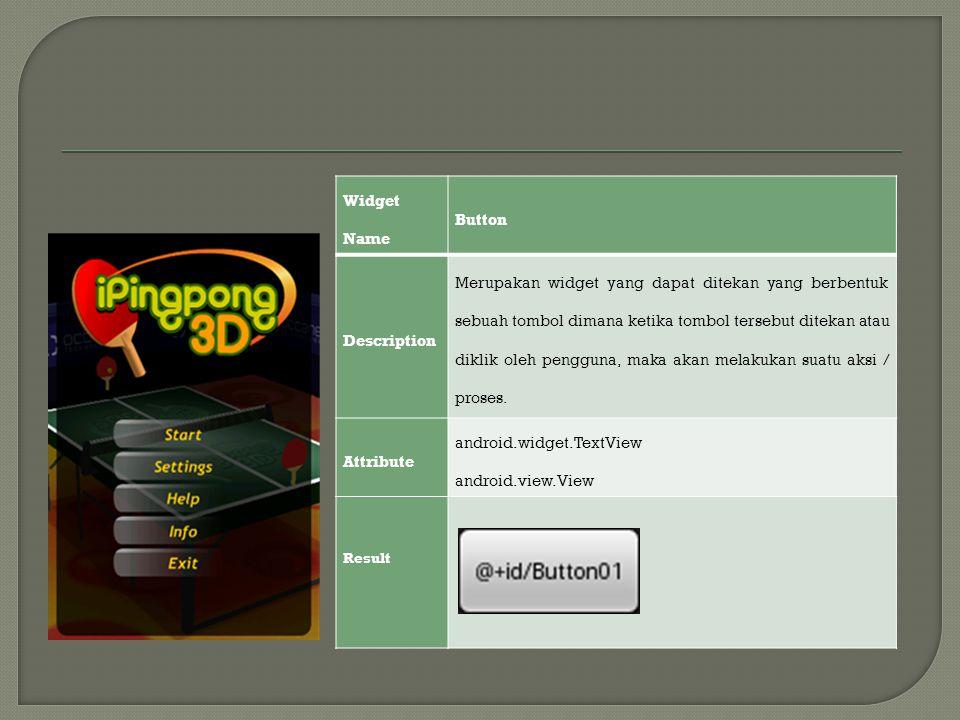 Widget Name Button Description Merupakan widget yang dapat ditekan yang berbentuk sebuah tombol dimana ketika tombol tersebut ditekan atau diklik oleh