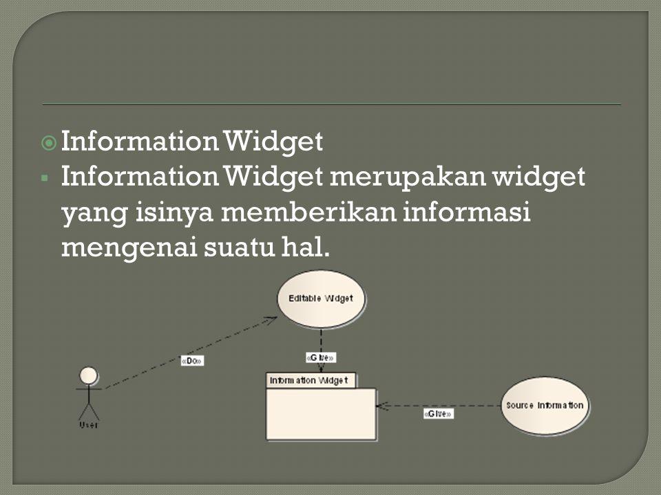  Information Widget  Information Widget merupakan widget yang isinya memberikan informasi mengenai suatu hal.