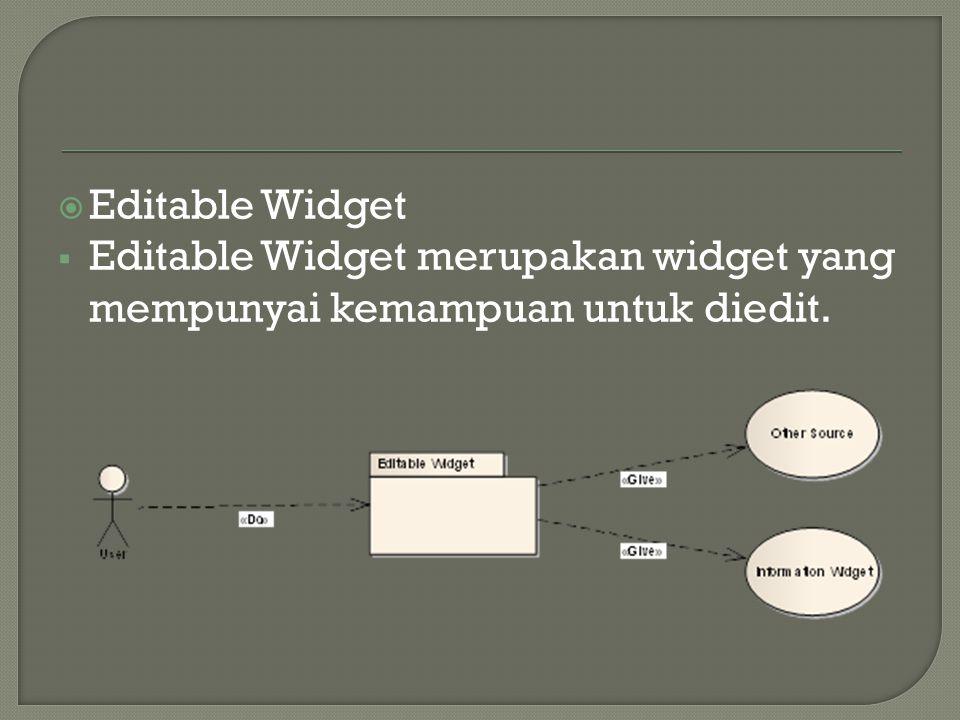  Editable Widget  Editable Widget merupakan widget yang mempunyai kemampuan untuk diedit.