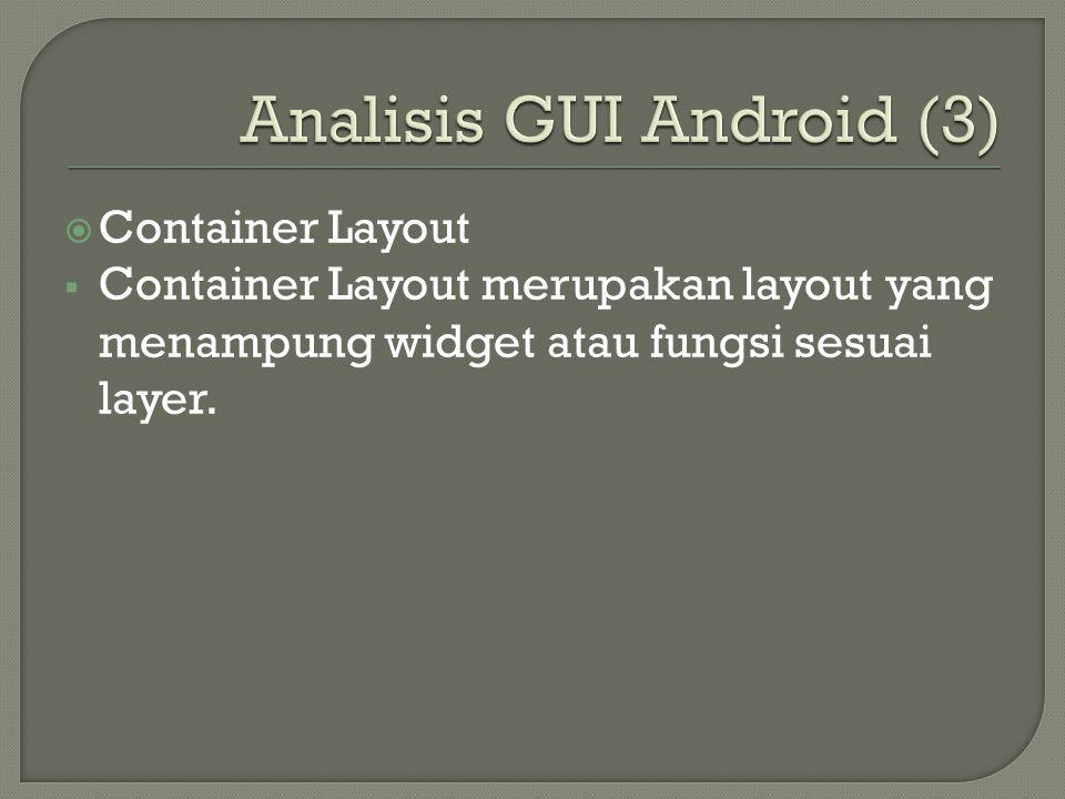  Container Layout  Container Layout merupakan layout yang menampung widget atau fungsi sesuai layer.