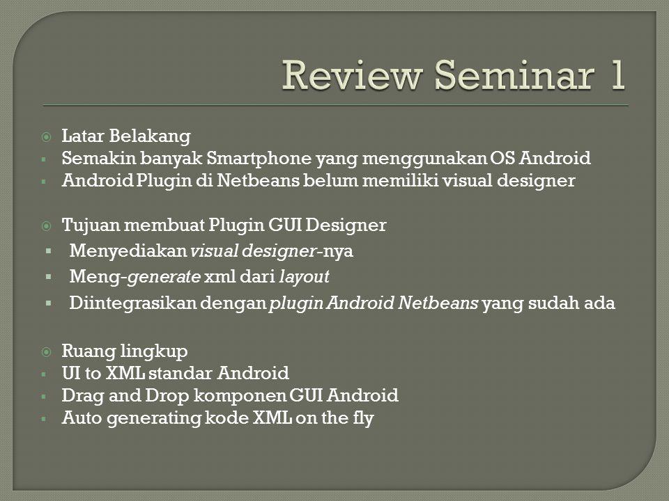  Latar Belakang  Semakin banyak Smartphone yang menggunakan OS Android  Android Plugin di Netbeans belum memiliki visual designer  Tujuan membuat