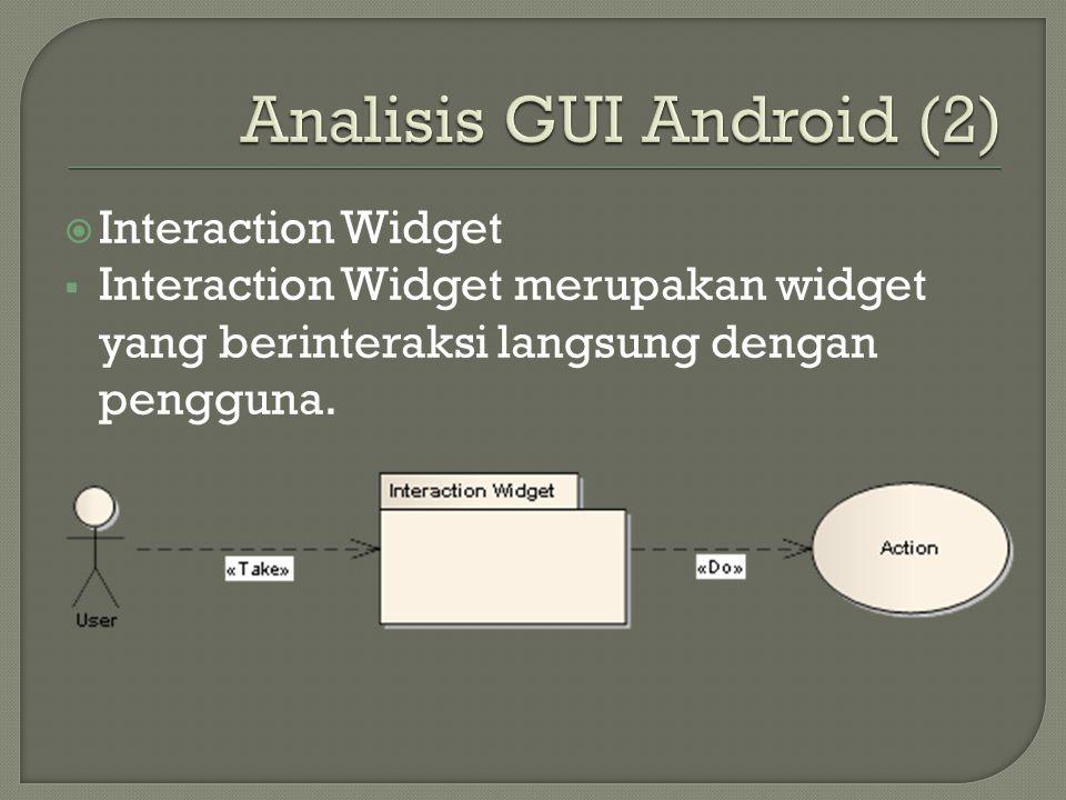 Widget Name Button Description Merupakan widget yang dapat ditekan yang berbentuk sebuah tombol dimana ketika tombol tersebut ditekan atau diklik oleh pengguna, maka akan melakukan suatu aksi / proses.