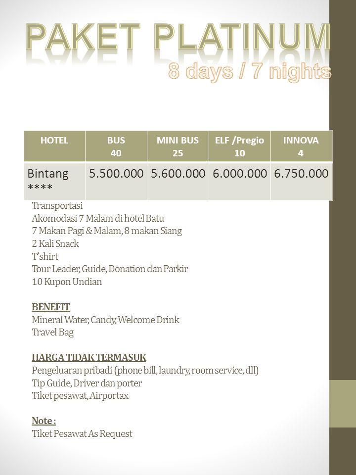 HARGA TERMASUK Transportasi Akomodasi 7 Malam di hotel Batu 7 Makan Pagi & Malam, 8 makan Siang 2 Kali Snack T'shirt Tour Leader, Guide, Donation dan