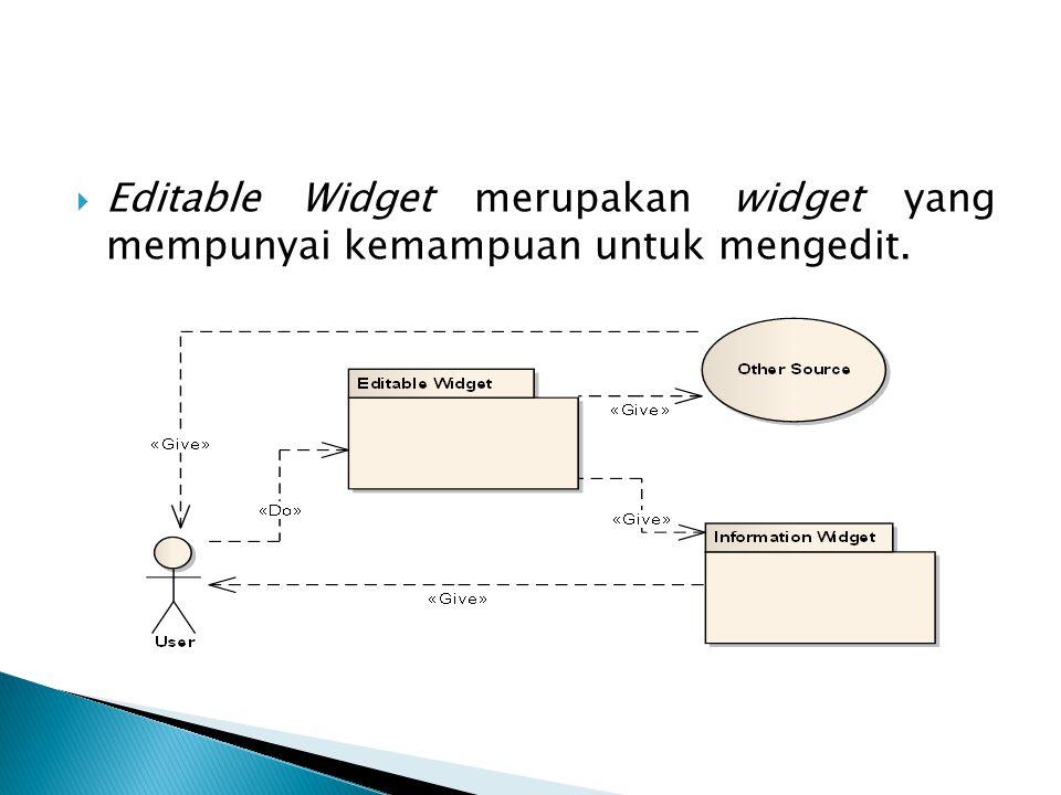  Editable Widget merupakan widget yang mempunyai kemampuan untuk mengedit.