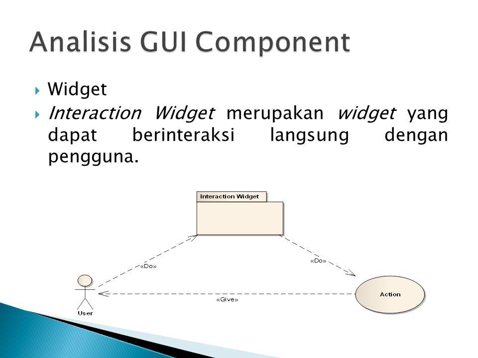  Widget  Interaction Widget merupakan widget yang dapat berinteraksi langsung dengan pengguna.