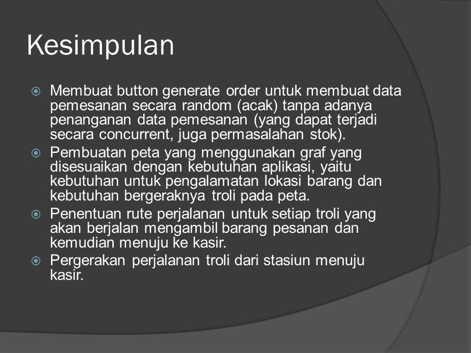 Kesimpulan  Membuat button generate order untuk membuat data pemesanan secara random (acak) tanpa adanya penanganan data pemesanan (yang dapat terjad