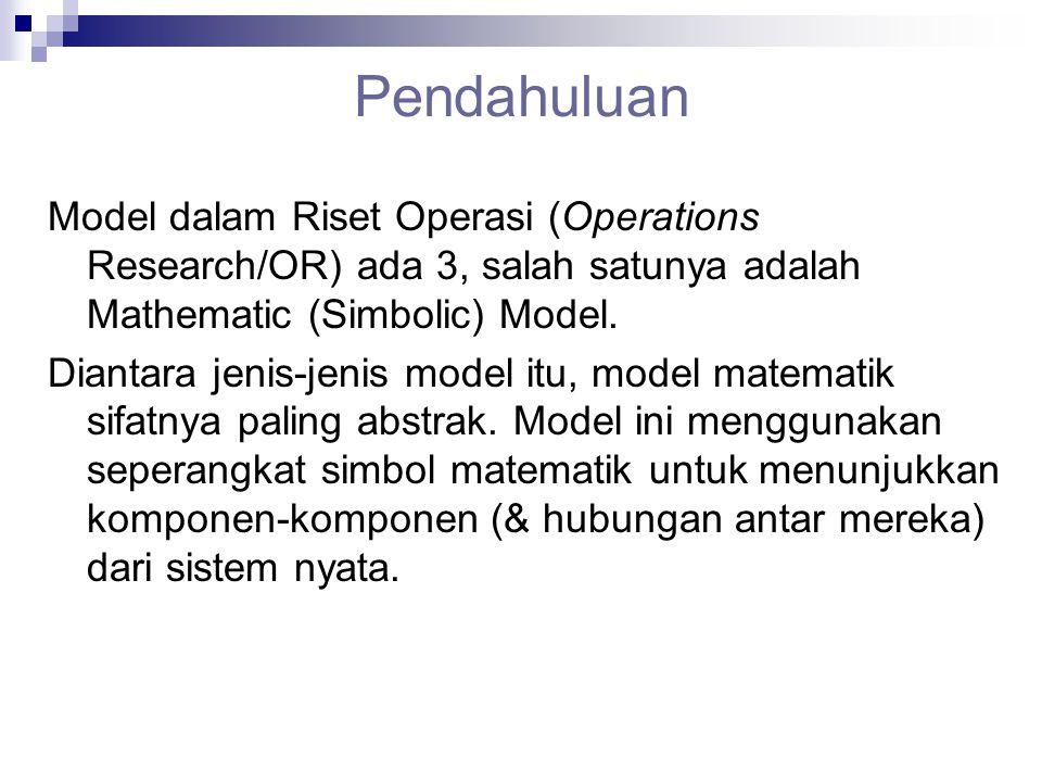 Pendahuluan Model dalam Riset Operasi (Operations Research/OR) ada 3, salah satunya adalah Mathematic (Simbolic) Model. Diantara jenis-jenis model itu