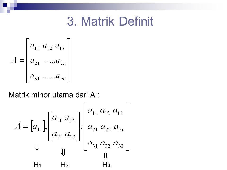 3. Matrik Definit Matrik minor utama dari A : H 1 H 2 H 3