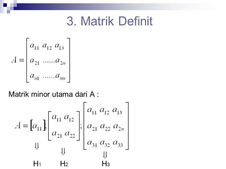 = matrik minor utama dari A Syarat : 1.A definit positif  det > 0; i = 1, 2, 3, …n 2.