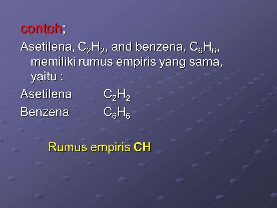 Rumus Empiris (Formula Empirik) Rumus Empiris adalah suatu rumus kimia yang menyatakan perbandingan jenis dan jumlah atom yang paling kecil. Contoh ;