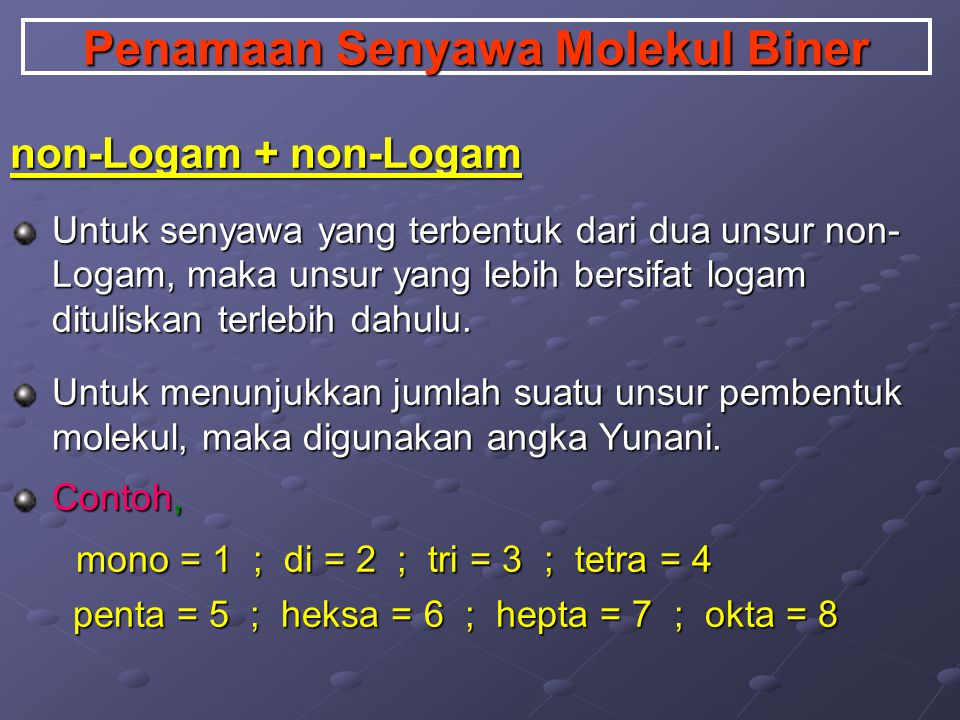 Penamaan Senyawa Molekul Biner non-Logam + non-Logam Untuk senyawa yang terbentuk dari dua unsur non- Logam, maka unsur yang lebih bersifat logam dituliskan terlebih dahulu.