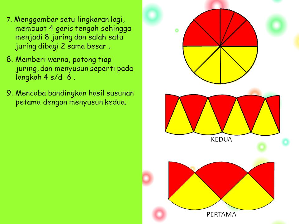  1. Menggambar sebuah lingkaran dengan ukuran jari-jari sembarang. 2. Membuat 2 garis tengah hingga lingkaran terbagi menjadi 4 bagian sama. 3. Memba