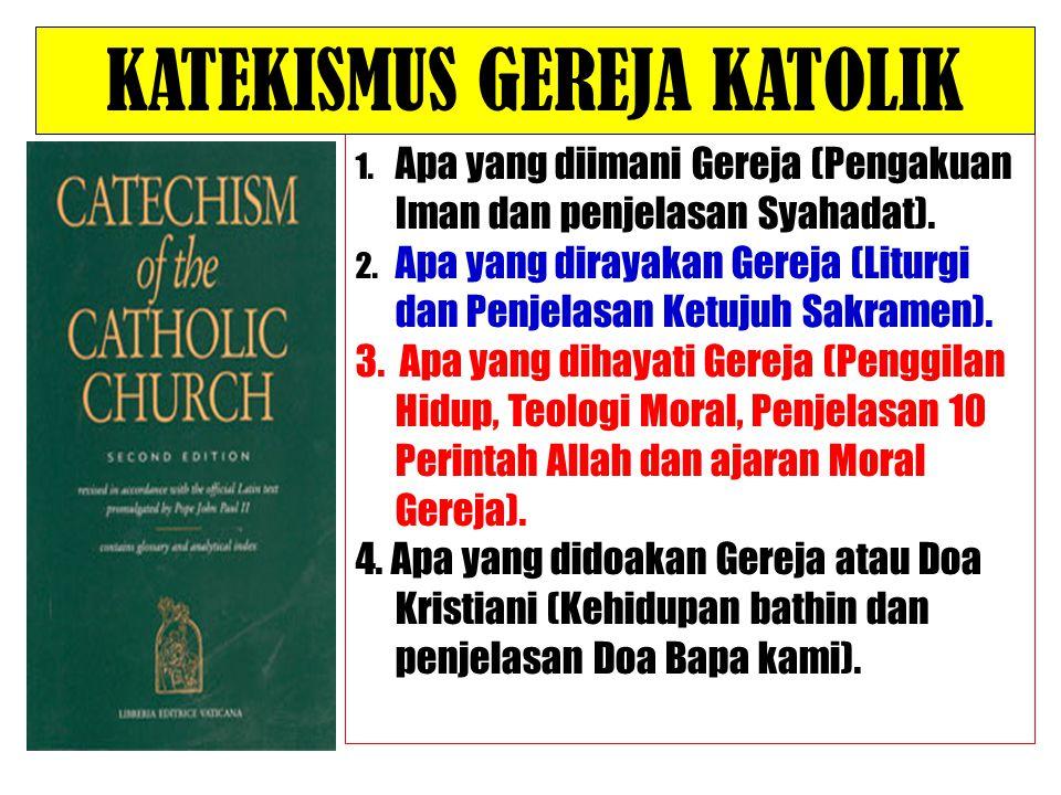 1. Apa yang diimani Gereja (Pengakuan Iman dan penjelasan Syahadat). 2. Apa yang dirayakan Gereja (Liturgi dan Penjelasan Ketujuh Sakramen). 3. Apa ya