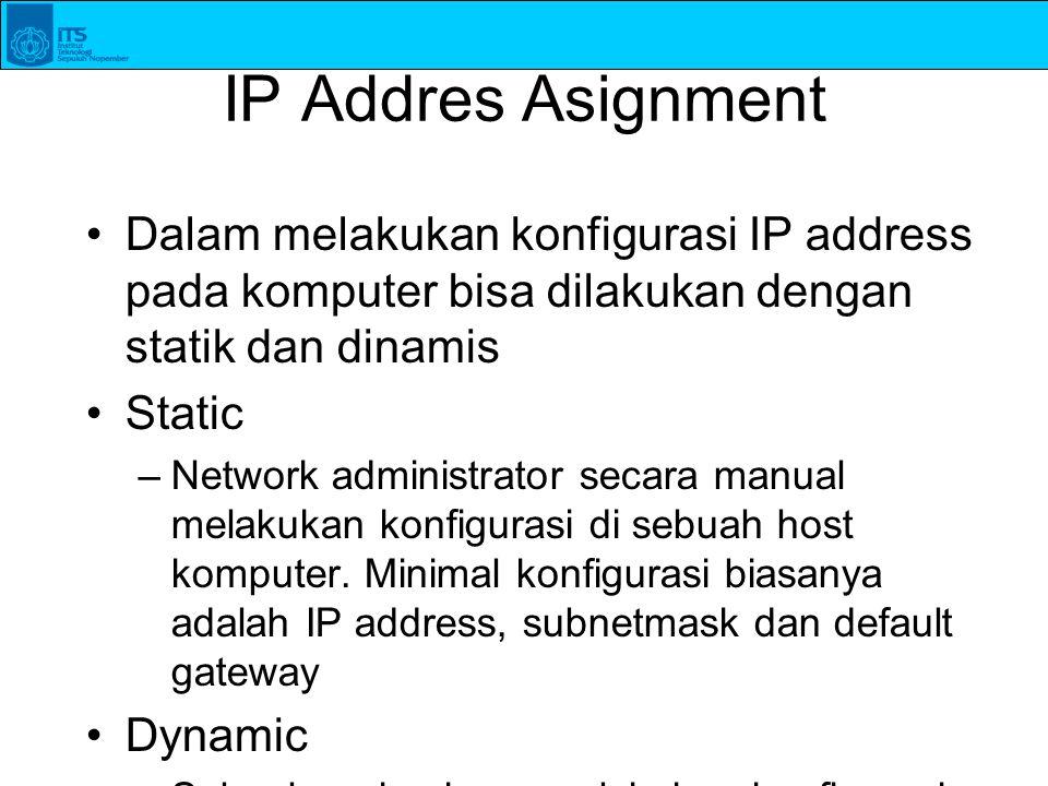 IP Addres Asignment Dalam melakukan konfigurasi IP address pada komputer bisa dilakukan dengan statik dan dinamis Static –Network administrator secara