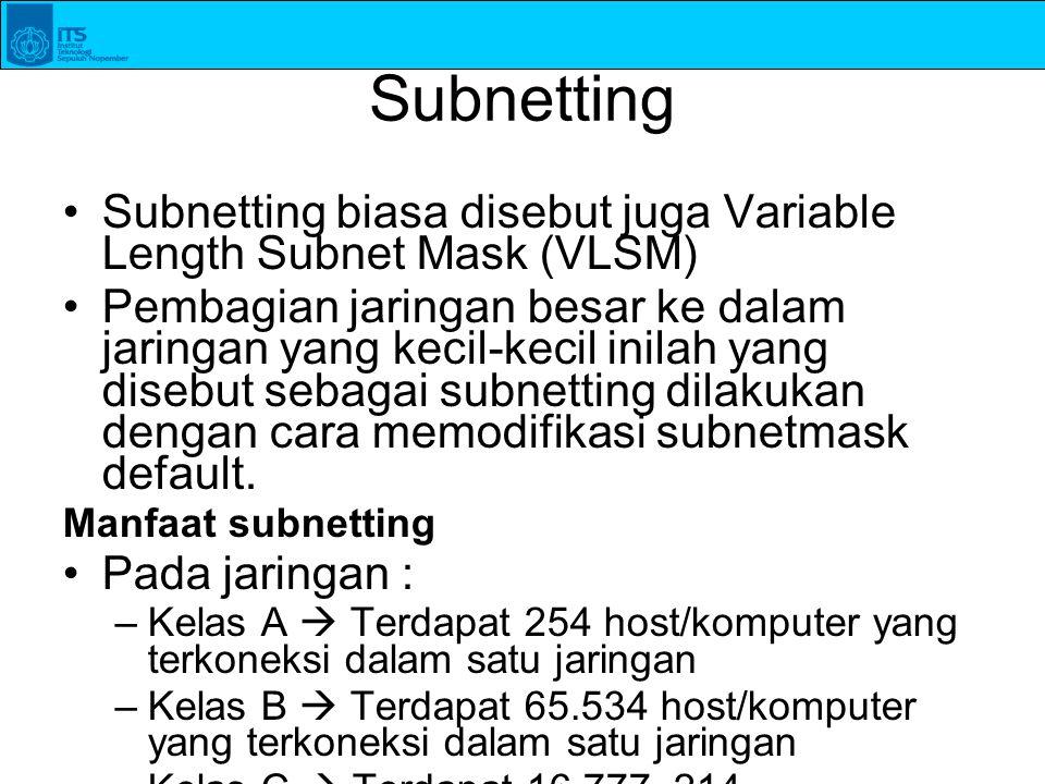 Subnetting Subnetting biasa disebut juga Variable Length Subnet Mask (VLSM) Pembagian jaringan besar ke dalam jaringan yang kecil-kecil inilah yang di