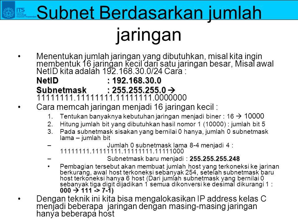 Subnet Berdasarkan jumlah jaringan Menentukan jumlah jaringan yang dibutuhkan, misal kita ingin membentuk 16 jaringan kecil dari satu jaringan besar,