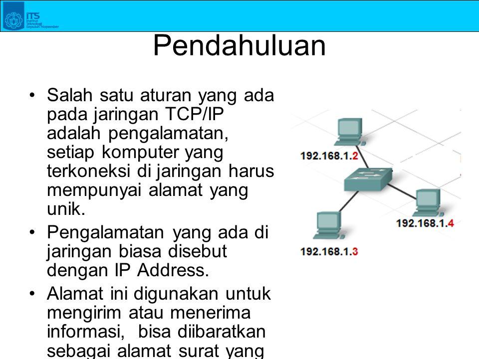 Pendahuluan Salah satu aturan yang ada pada jaringan TCP/IP adalah pengalamatan, setiap komputer yang terkoneksi di jaringan harus mempunyai alamat ya
