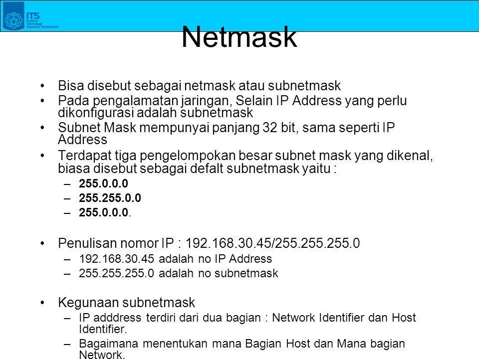 Netmask Bisa disebut sebagai netmask atau subnetmask Pada pengalamatan jaringan, Selain IP Address yang perlu dikonfigurasi adalah subnetmask Subnet M