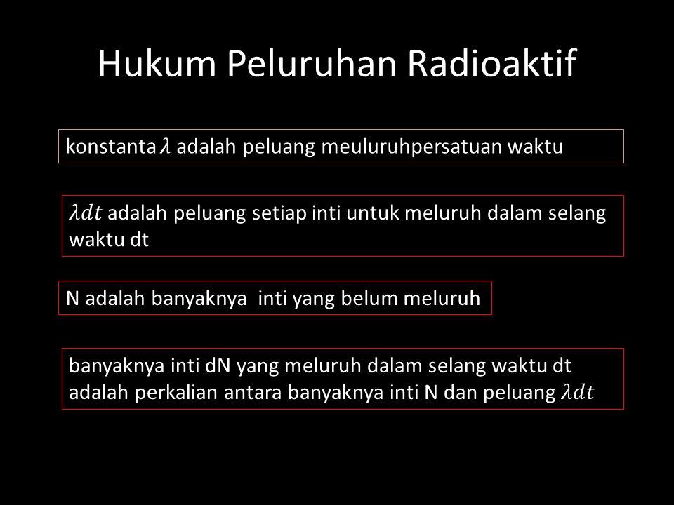 Ex; Konstan peluruhan radio isotop yang umur paronya 5 jam adalah: Kesimpulan: Sehingga Konstanta peluruhan atau konstanta disintegrasi pada radio iso