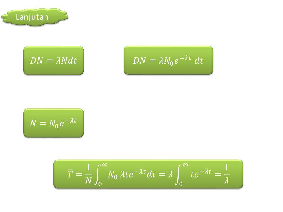 UMUR RERATA Umur rata-rata didefinisikan sebagai jumlah dari seluruh keberadaan seluruh atom dibagi dengan nomor awal. Umur rata-rata suatu nuklide sa