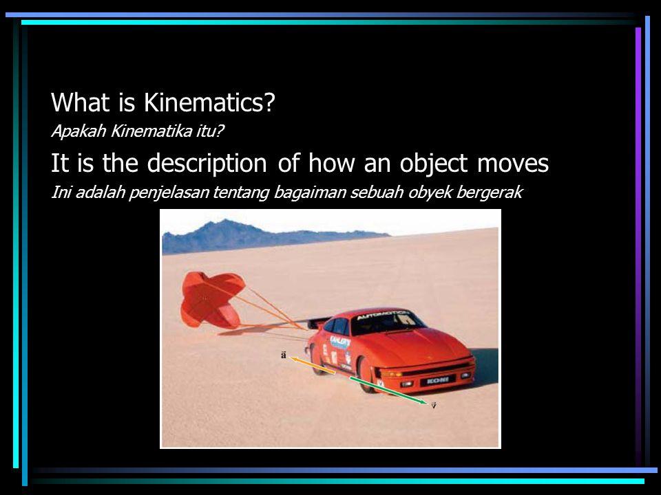What is Kinematics? Apakah Kinematika itu? It is the description of how an object moves Ini adalah penjelasan tentang bagaiman sebuah obyek bergerak