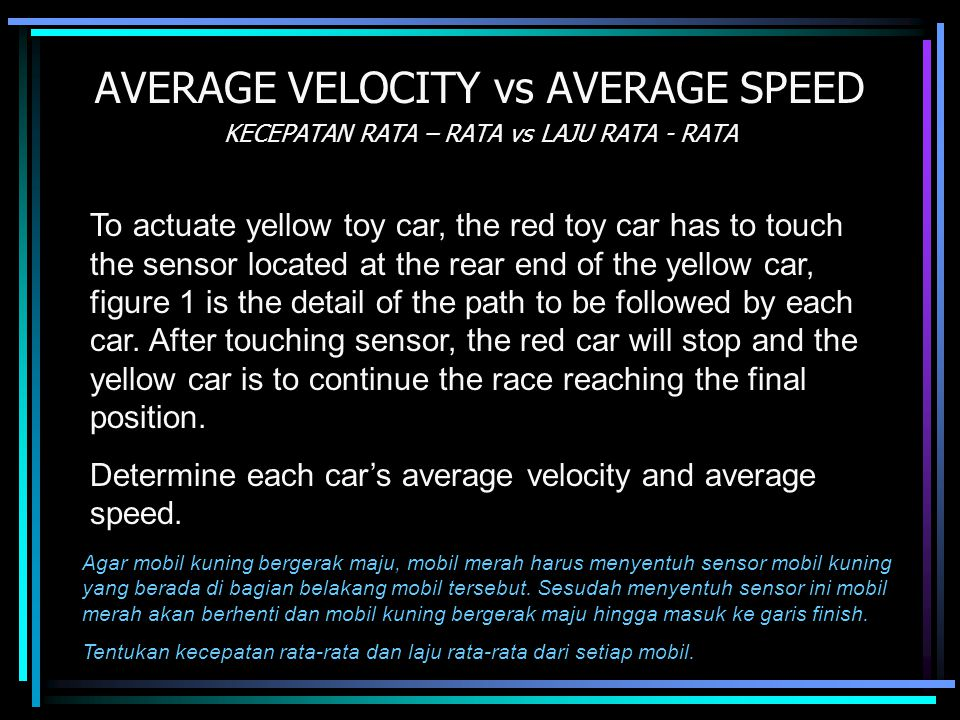 AVERAGE VELOCITY vs AVERAGE SPEED KECEPATAN RATA – RATA vs LAJU RATA - RATA To actuate yellow toy car, the red toy car has to touch the sensor located