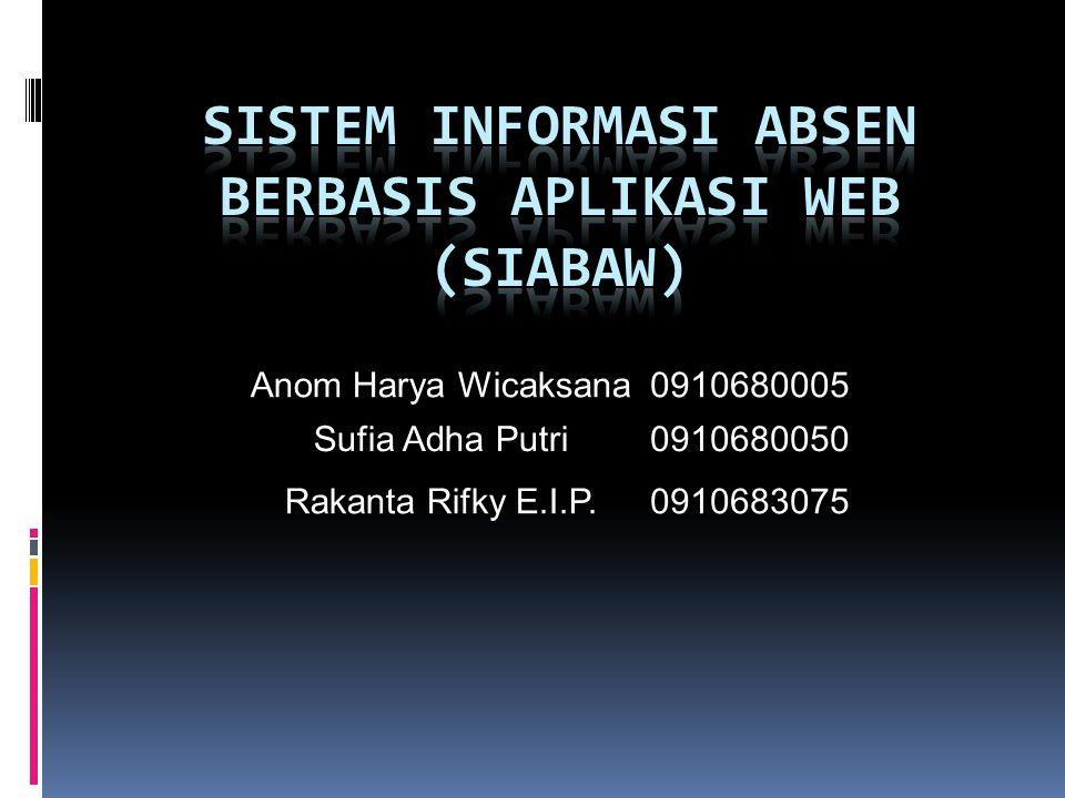 Anom Harya Wicaksana0910680005 Sufia Adha Putri0910680050 Rakanta Rifky E.I.P.0910683075