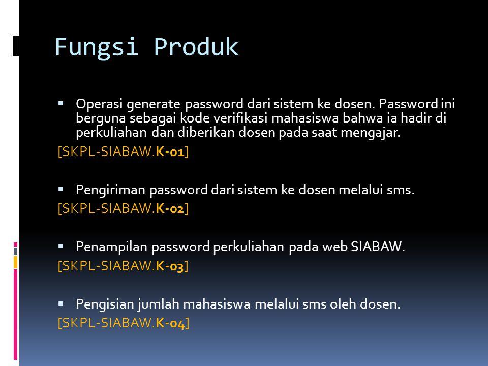 Fungsi Produk  Operasi generate password dari sistem ke dosen. Password ini berguna sebagai kode verifikasi mahasiswa bahwa ia hadir di perkuliahan d