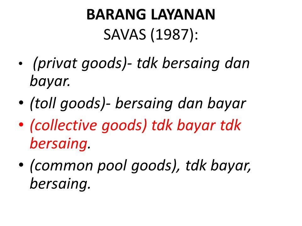 BARANG LAYANAN SAVAS (1987): (privat goods)- tdk bersaing dan bayar. (toll goods)- bersaing dan bayar (collective goods) tdk bayar tdk bersaing. (comm