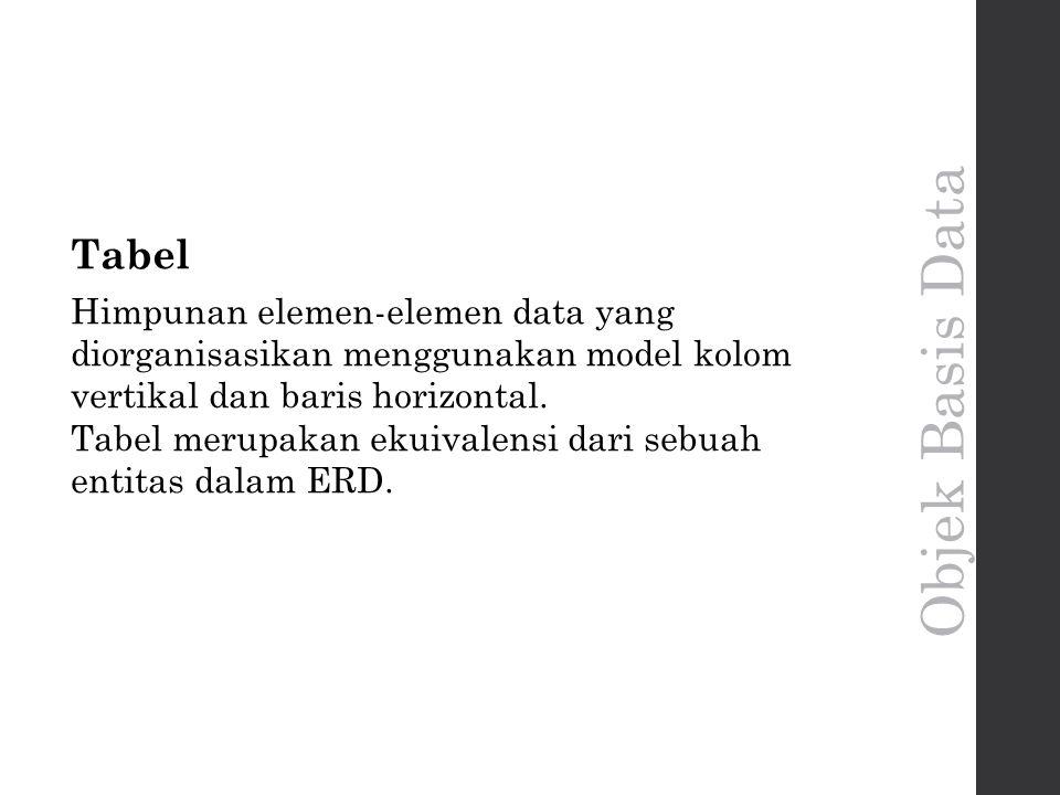 Tabel Himpunan elemen-elemen data yang diorganisasikan menggunakan model kolom vertikal dan baris horizontal.