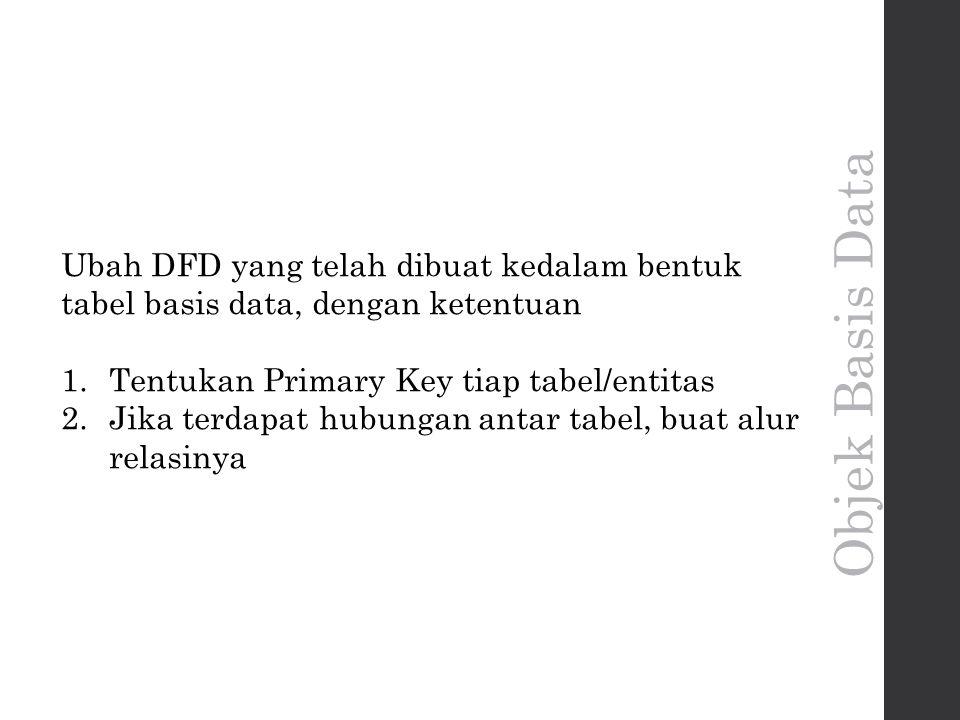 Ubah DFD yang telah dibuat kedalam bentuk tabel basis data, dengan ketentuan 1.Tentukan Primary Key tiap tabel/entitas 2.Jika terdapat hubungan antar tabel, buat alur relasinya