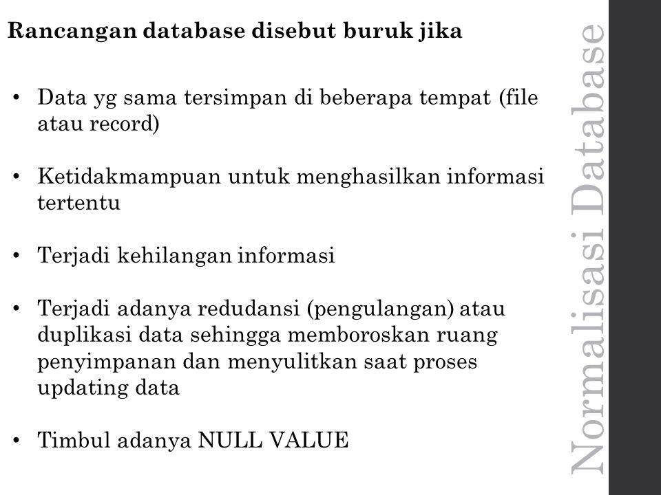 Rancangan database disebut buruk jika Data yg sama tersimpan di beberapa tempat (file atau record) Ketidakmampuan untuk menghasilkan informasi tertentu Terjadi kehilangan informasi Terjadi adanya redudansi (pengulangan) atau duplikasi data sehingga memboroskan ruang penyimpanan dan menyulitkan saat proses updating data Timbul adanya NULL VALUE
