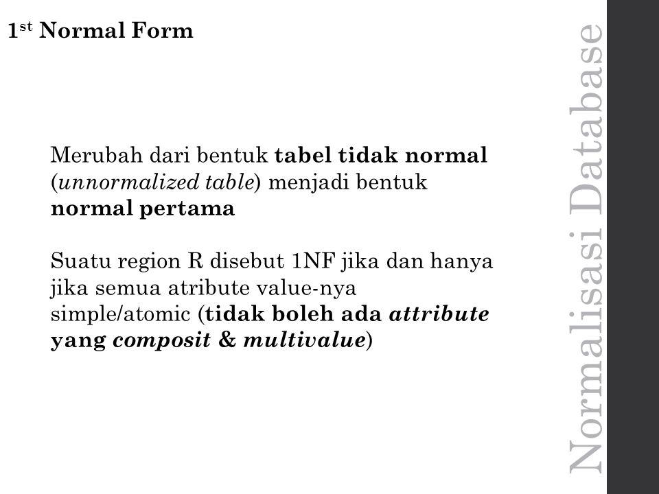 Normalisasi Database 1 st Normal Form Merubah dari bentuk tabel tidak normal ( unnormalized table ) menjadi bentuk normal pertama Suatu region R disebut 1NF jika dan hanya jika semua atribute value-nya simple/atomic ( tidak boleh ada attribute yang composit & multivalue )