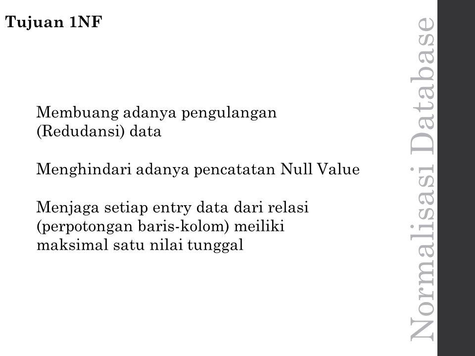 Normalisasi Database Tujuan 1NF Membuang adanya pengulangan (Redudansi) data Menghindari adanya pencatatan Null Value Menjaga setiap entry data dari relasi (perpotongan baris-kolom) meiliki maksimal satu nilai tunggal