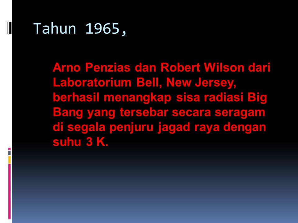 James Peebles dan Robert Dicke dari Universitas Princeton memprediksi adanya sisa radiasi big bang yang setara dengan suhu 3 sampai 5 K.