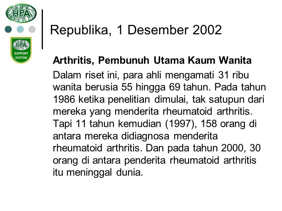 Republika, 1 Desember 2002 Arthritis, Pembunuh Utama Kaum Wanita Sejauh ini, belum diketahui diketahui secara pasti mengapa rheumatoid arthritis meningkatkan peluang kematian.