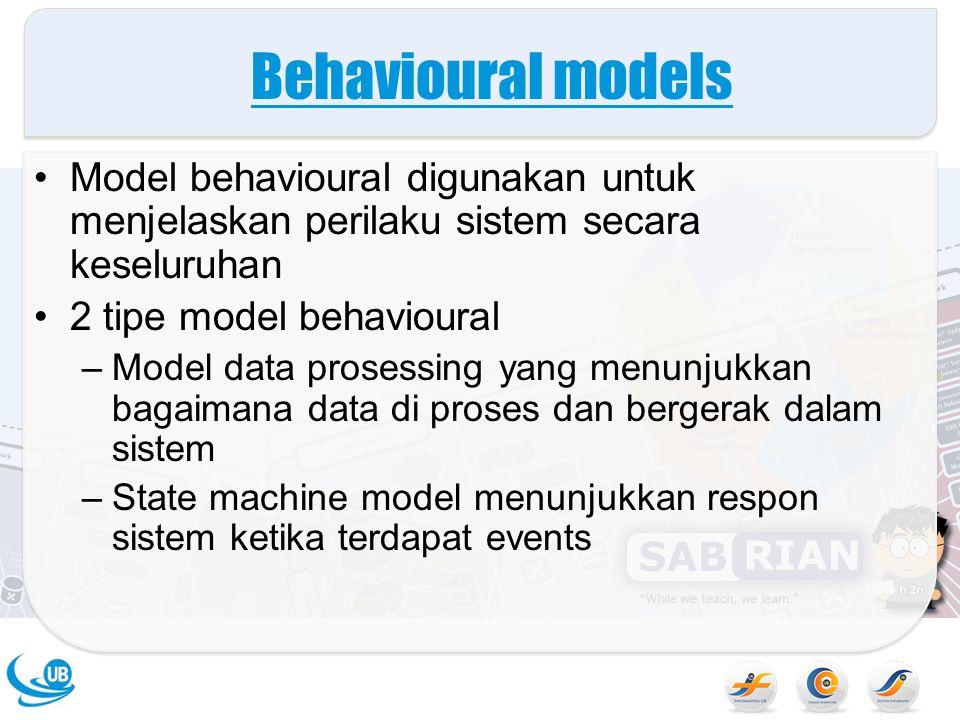 Behavioural models Model behavioural digunakan untuk menjelaskan perilaku sistem secara keseluruhan 2 tipe model behavioural –Model data prosessing ya