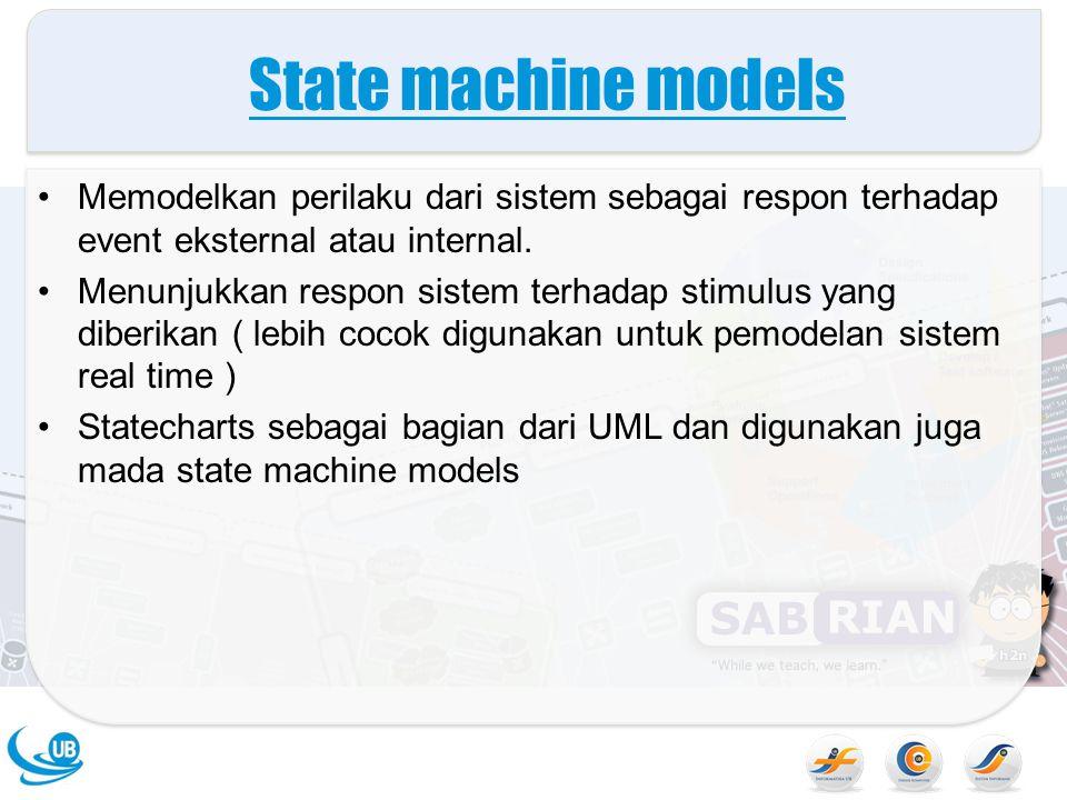 State machine models Memodelkan perilaku dari sistem sebagai respon terhadap event eksternal atau internal. Menunjukkan respon sistem terhadap stimulu