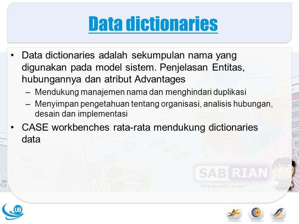 Data dictionaries Data dictionaries adalah sekumpulan nama yang digunakan pada model sistem. Penjelasan Entitas, hubungannya dan atribut Advantages –M