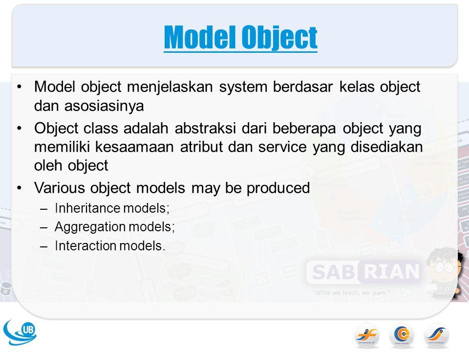 Model Object Model object menjelaskan system berdasar kelas object dan asosiasinya Object class adalah abstraksi dari beberapa object yang memiliki ke