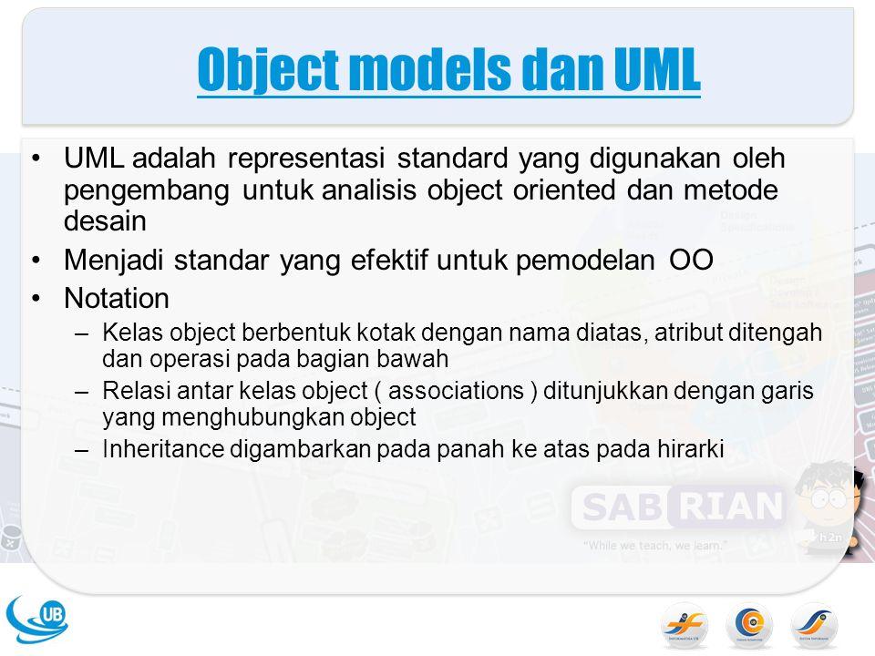 Object models dan UML UML adalah representasi standard yang digunakan oleh pengembang untuk analisis object oriented dan metode desain Menjadi standar