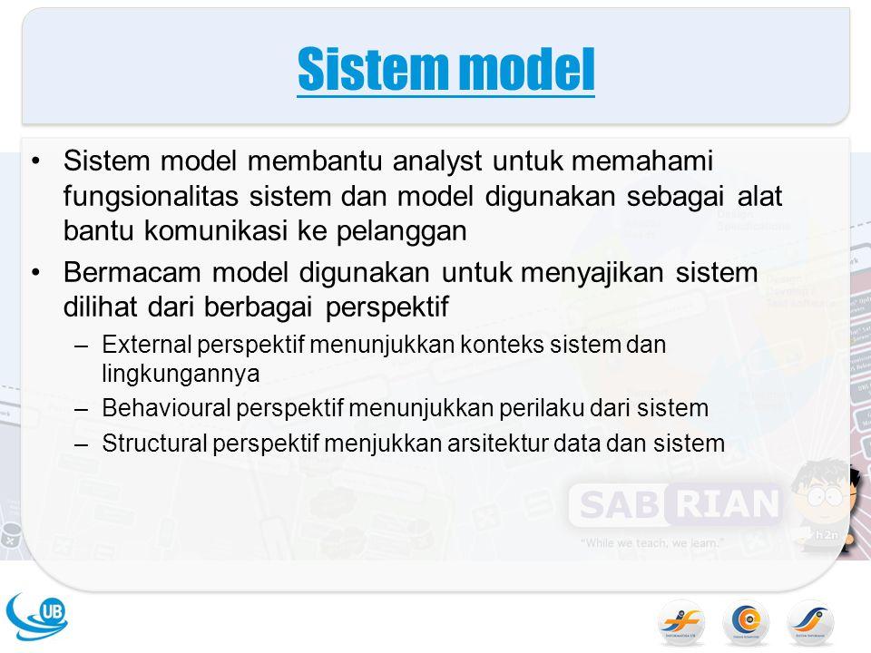 Sistem model Sistem model membantu analyst untuk memahami fungsionalitas sistem dan model digunakan sebagai alat bantu komunikasi ke pelanggan Bermaca