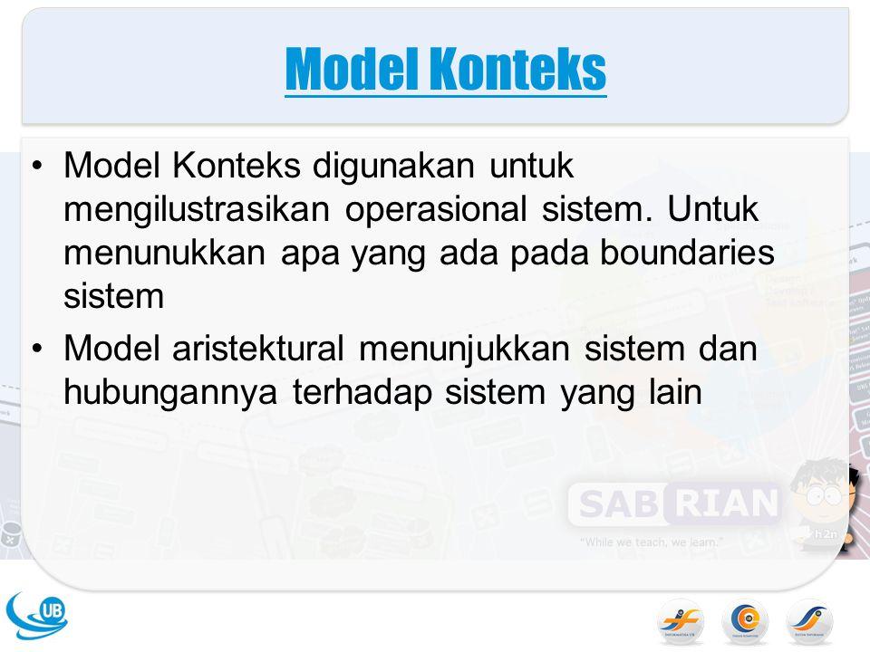 Model Konteks Model Konteks digunakan untuk mengilustrasikan operasional sistem. Untuk menunukkan apa yang ada pada boundaries sistem Model aristektur