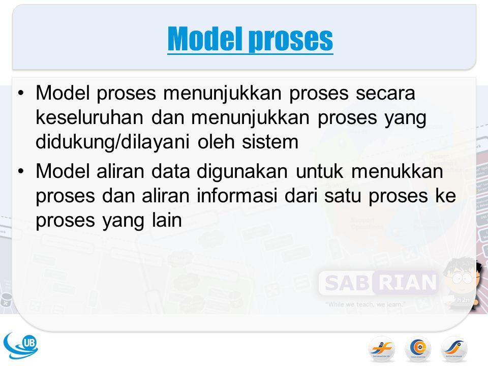 Model proses Model proses menunjukkan proses secara keseluruhan dan menunjukkan proses yang didukung/dilayani oleh sistem Model aliran data digunakan