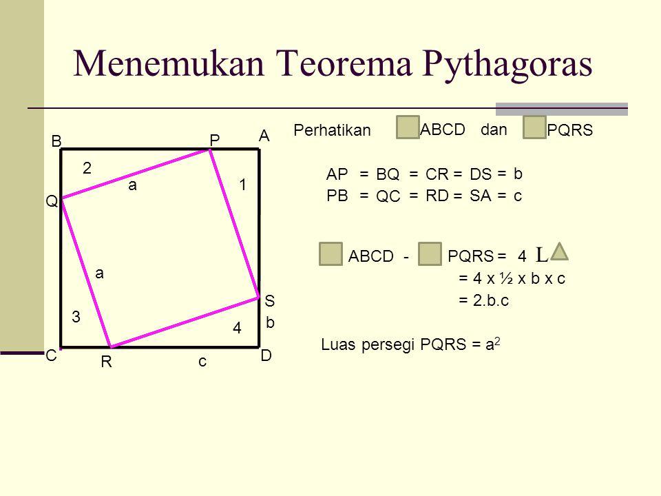 Menemukan Teorema Pythagoras A B CD P Q R S AP=BQ=CRDS= PB= QC =RD = SA Perhatikan ABCD dan PQRS =b b =c c ABCD-PQRS=4 L 1 2 3 4 = 4 x ½ x b x c = 2.b