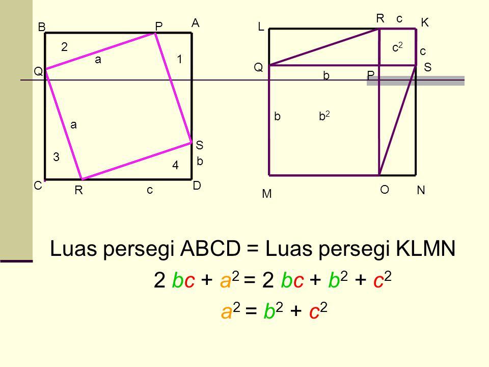 K L M N c c b b b2b2 c2c2 O P Q R S A B CD P Q R S b c 1 2 3 4 a a Luas persegi ABCD = Luas persegi KLMN 2 bc + a 2 = 2 bc + b 2 + c 2 a 2 = b 2 + c 2