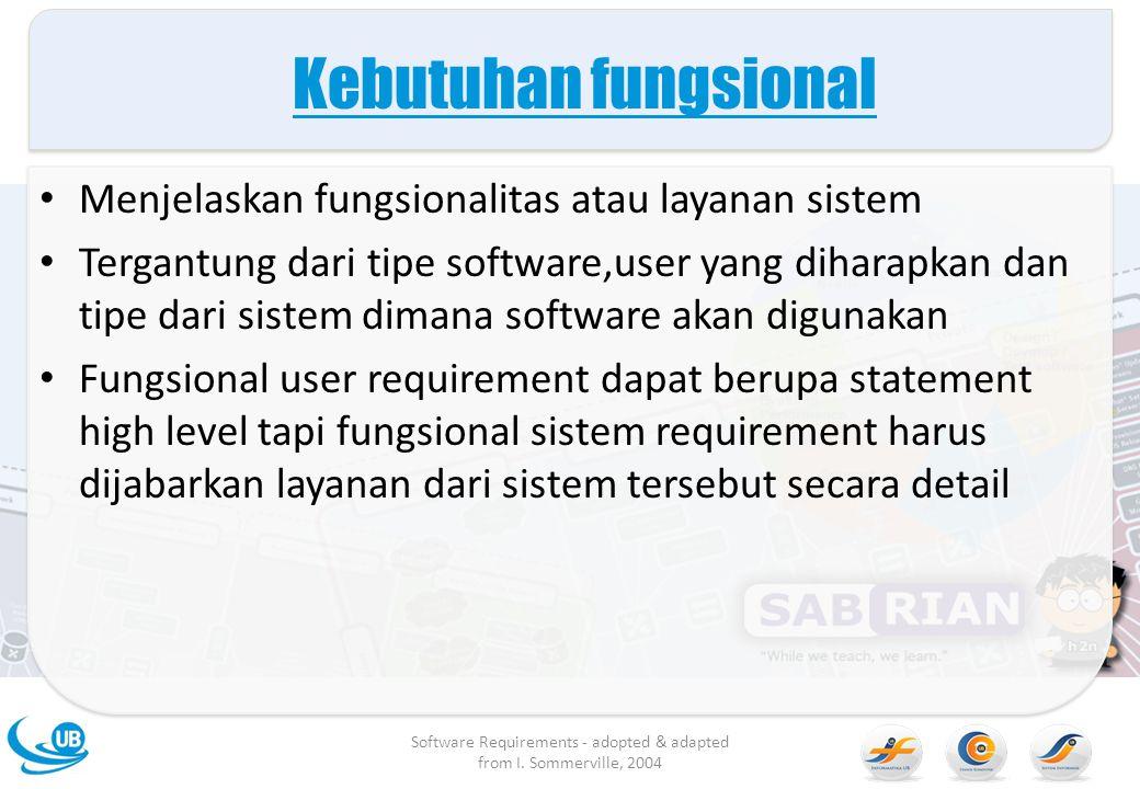 Kebutuhan fungsional Menjelaskan fungsionalitas atau layanan sistem Tergantung dari tipe software,user yang diharapkan dan tipe dari sistem dimana sof