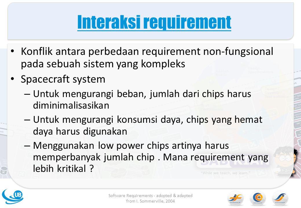 Interaksi requirement Konflik antara perbedaan requirement non-fungsional pada sebuah sistem yang kompleks Spacecraft system – Untuk mengurangi beban,