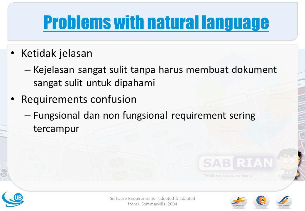 Problems with natural language Ketidak jelasan – Kejelasan sangat sulit tanpa harus membuat dokument sangat sulit untuk dipahami Requirements confusio
